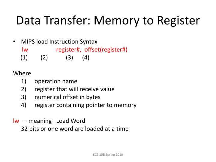 Data Transfer: Memory to Register