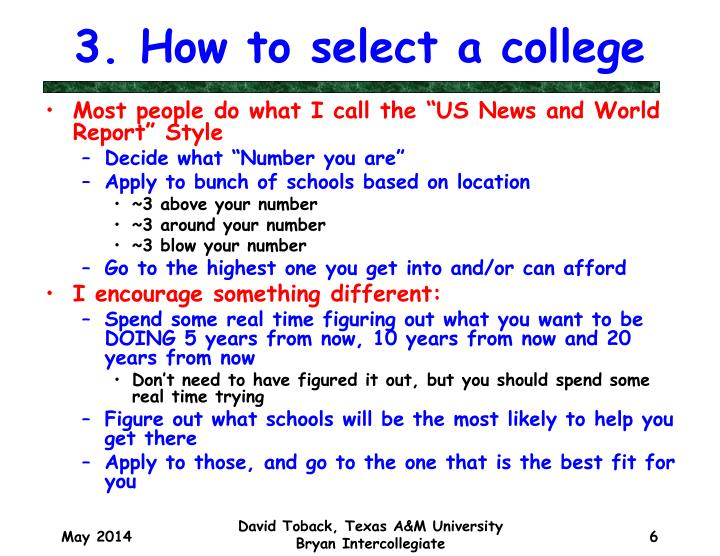 3. How to select a college