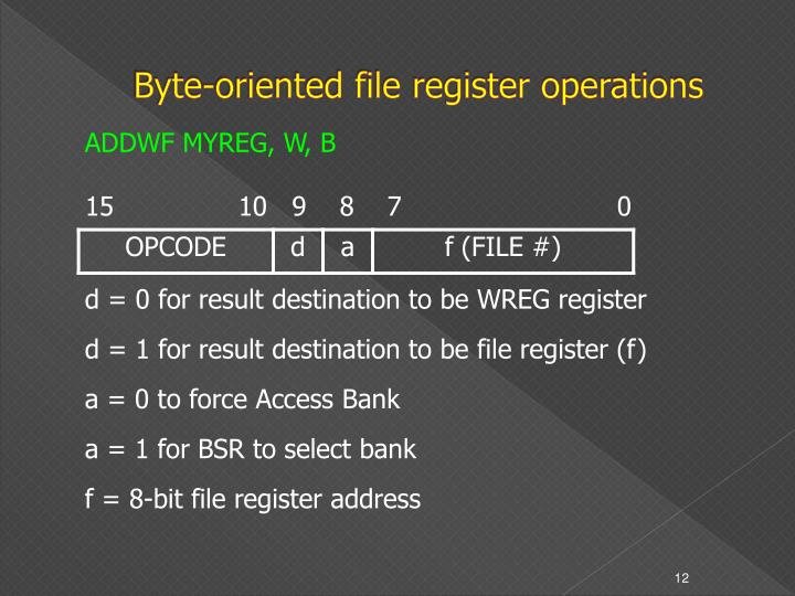 Byte-oriented file register operations