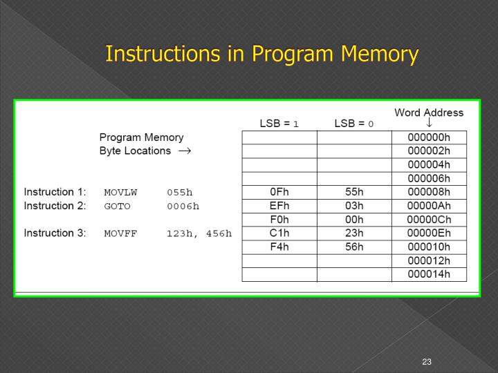 Instructions in Program Memory