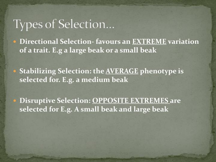 Types of Selection…