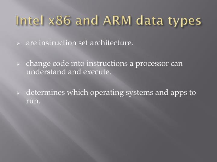 Intel x86 and ARM data types