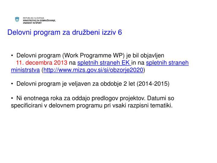 Delovni program za