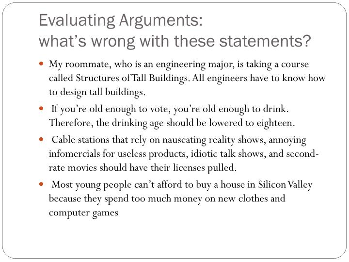 Evaluating Arguments: