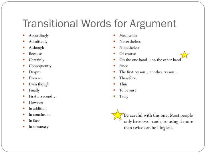 Transitional Words for Argument