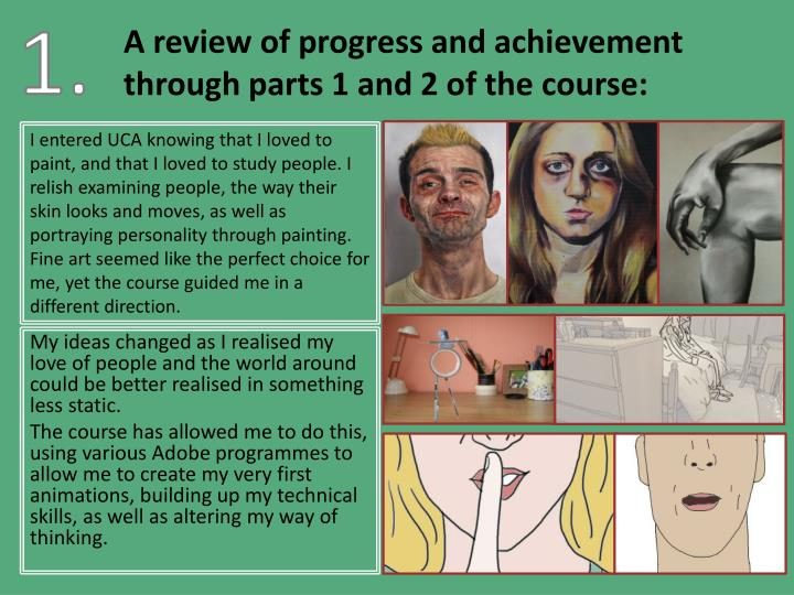 A review of progress and achievement through parts 1 and 2 of the course