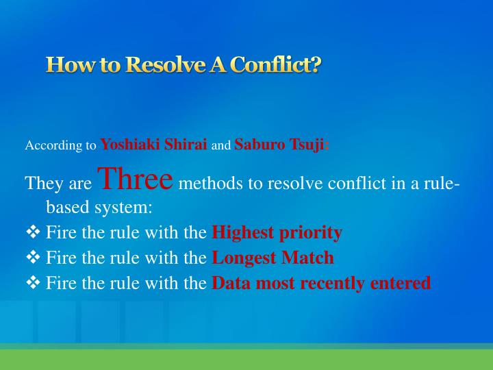 How to Resolve A Conflict?
