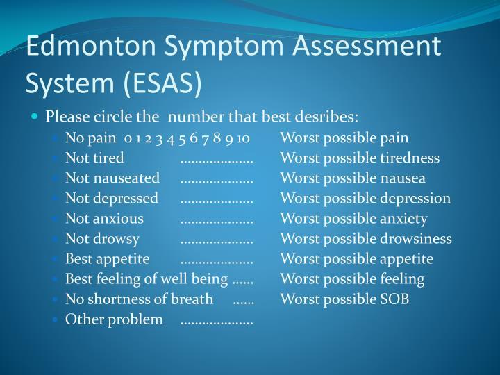 Edmonton Symptom Assessment System (ESAS)