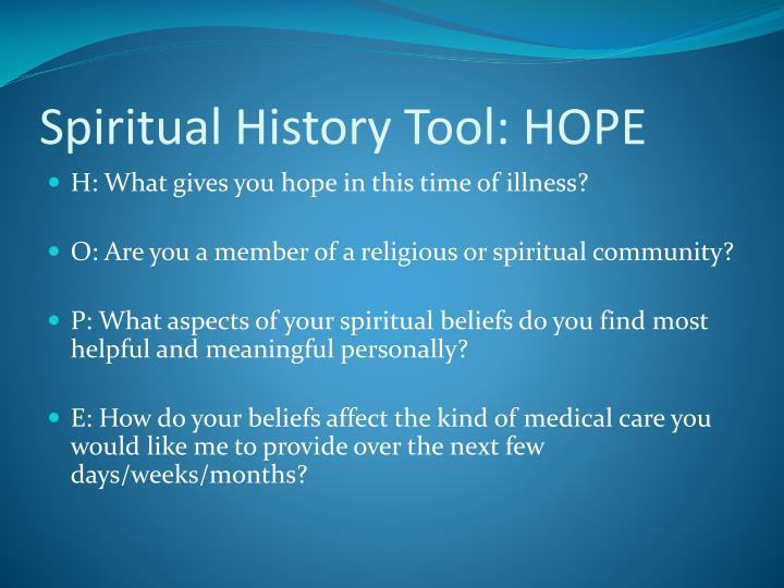 Spiritual History Tool: HOPE