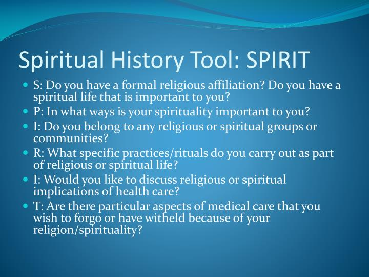 Spiritual History Tool: SPIRIT