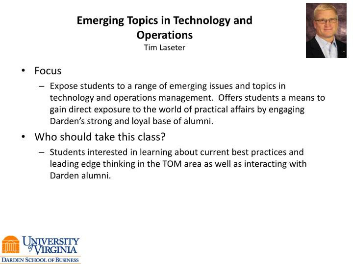 Emerging Topics in Technology and Operations