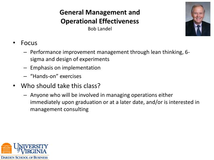 General Management and Operational Effectiveness