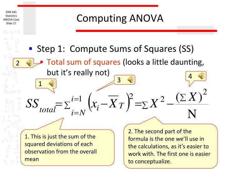 Computing ANOVA