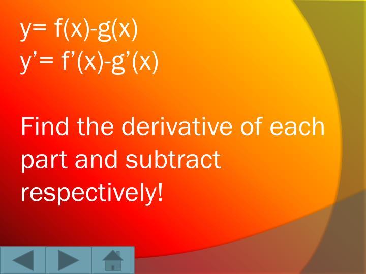 y= f(x)-g(x)
