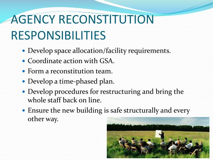 AGENCY RECONSTITUTION RESPONSIBILITIES