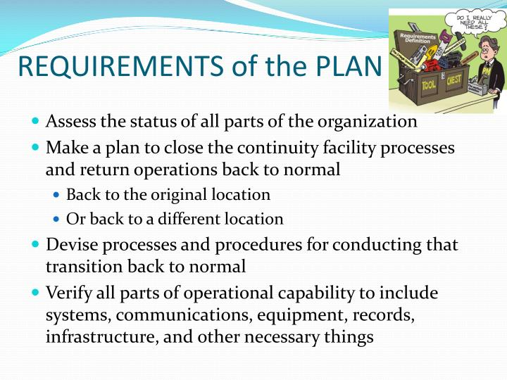REQUIREMENTS of the PLAN