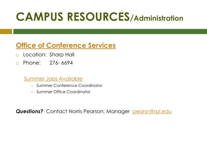 Campus resources administration