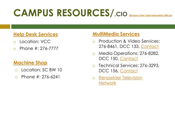 CAMPUS RESOURCES/