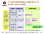 service classification d epending on authentication level