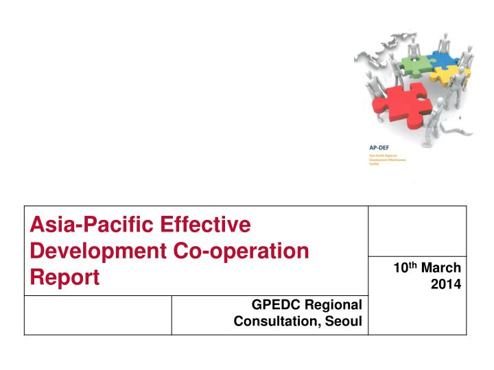 Asia pacific effective development co operation report
