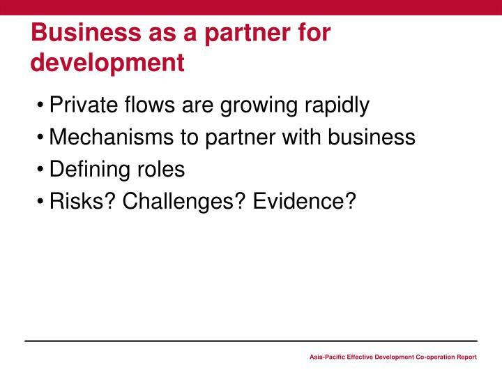 Business as a partner for development