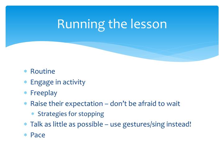Running the lesson