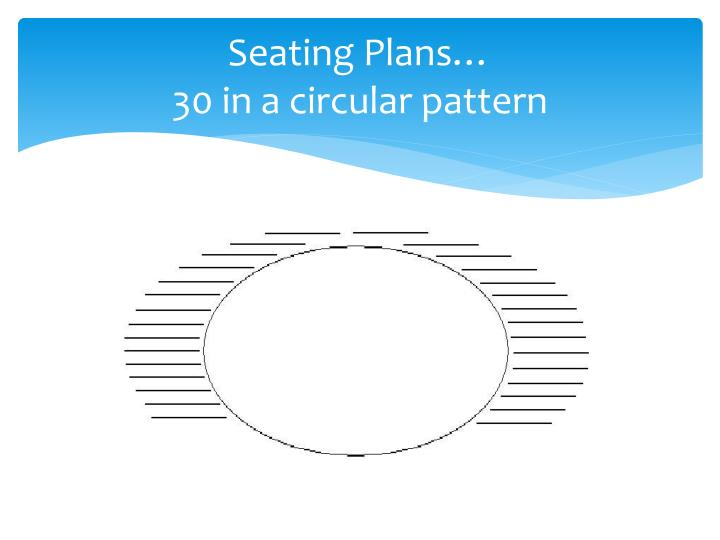 Seating plans 30 in a circular pattern