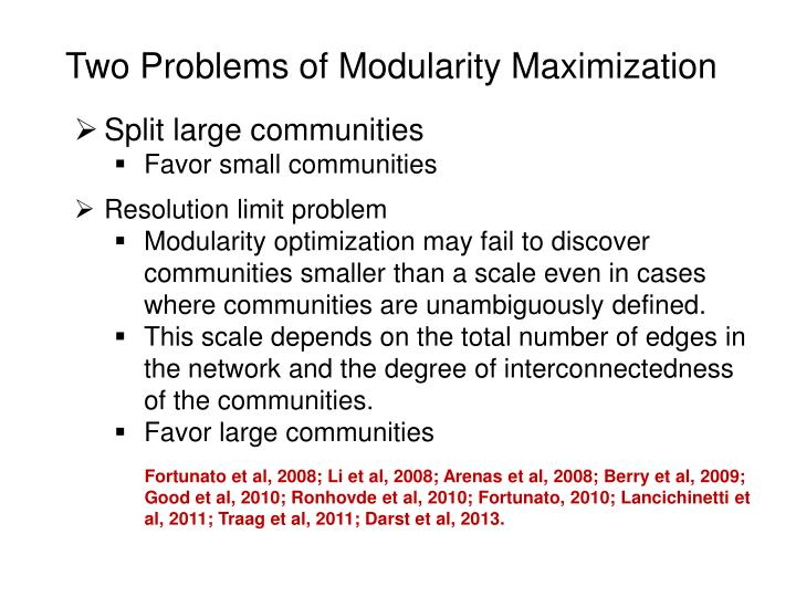 Two Problems of Modularity Maximization