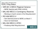 status of wecc standards activity ferc filing status