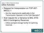 status of wecc standards activity other activities