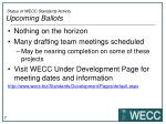status of wecc standards activity upcoming ballots