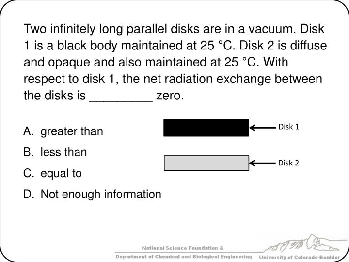 Two infinitely long parallel disks are in a vacuum. Disk 1 is a black body maintained at 25 °C. Disk 2 is diffuse and opaque and also maintained at 25 °C