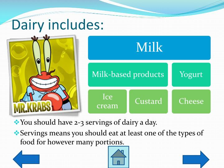 Dairy includes: