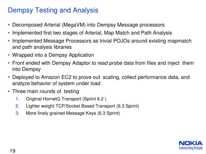 Dempsy Testing and Analysis