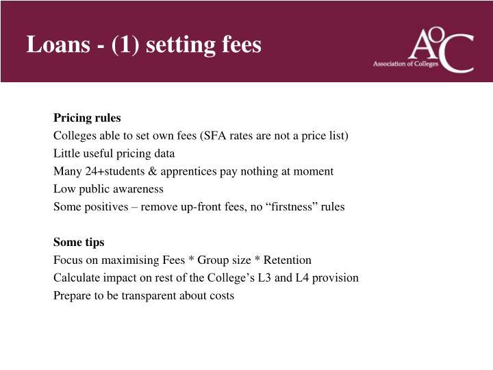Loans - (1) setting fees