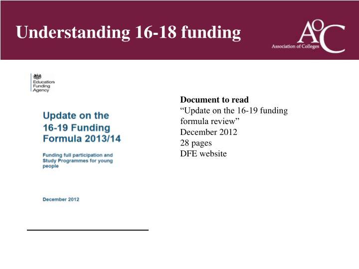 Understanding 16-18 funding
