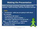making the presentation
