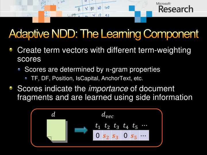 Adaptive NDD: The Learning Component