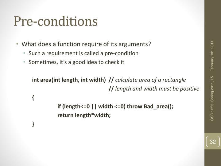 Pre-conditions