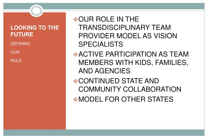 OUR ROLE IN THE TRANSDISCIPLINARY TEAM PROVIDER MODEL AS VISION SPECIALISTS
