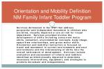 orientation and mobility definition nm family infant toddler program