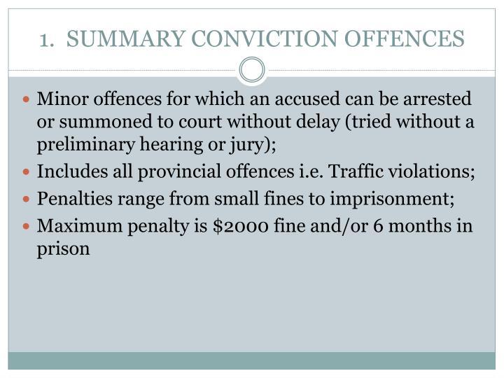 1.  SUMMARY CONVICTION OFFENCES