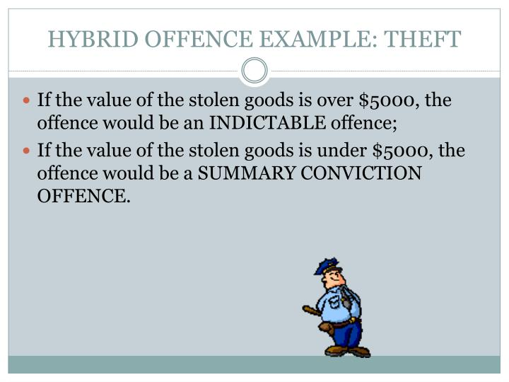 HYBRID OFFENCE EXAMPLE: THEFT