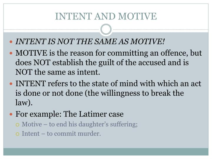 INTENT AND MOTIVE