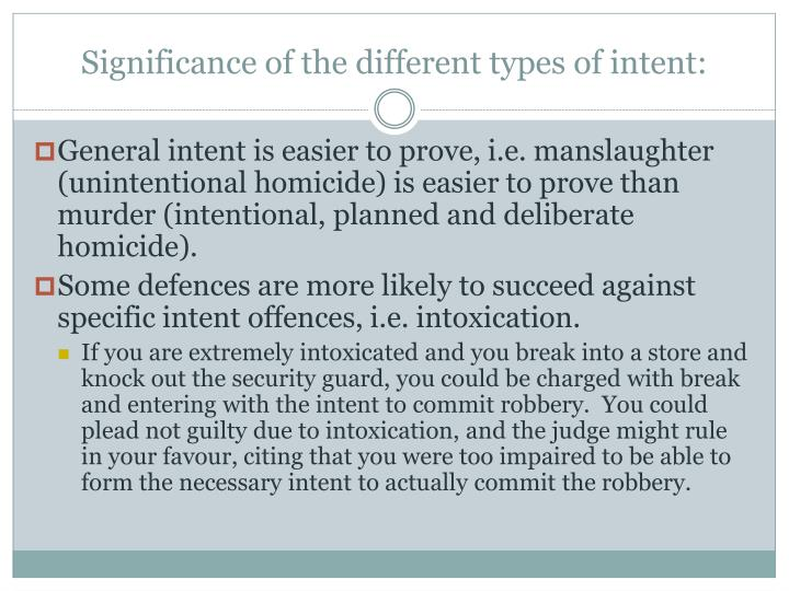 Significance of the different types of intent: