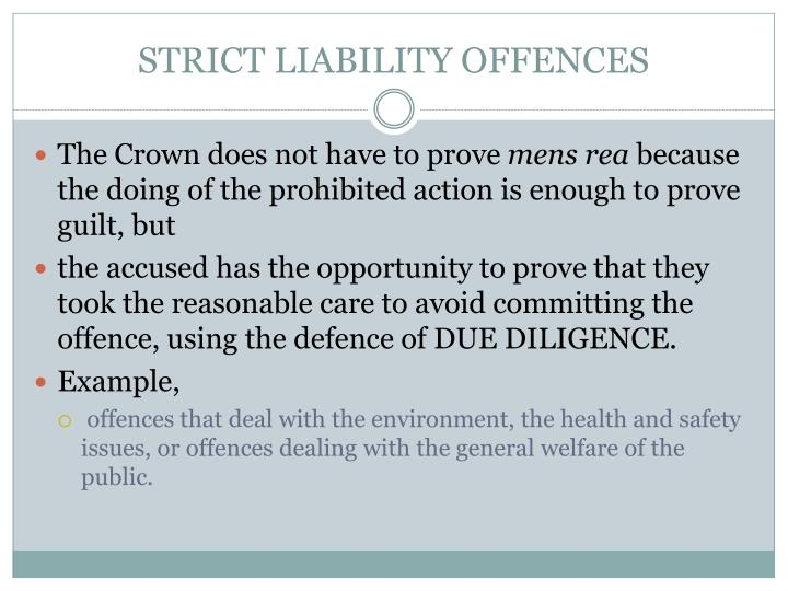 STRICT LIABILITY OFFENCES