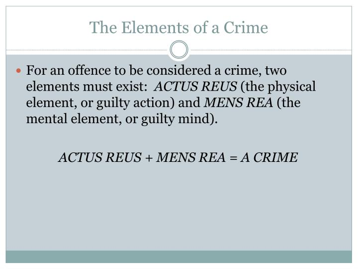 The Elements of a Crime