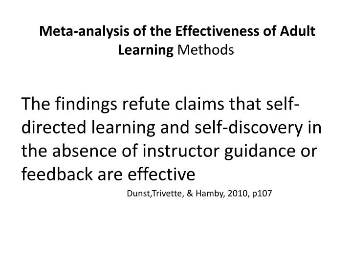 Meta-analysis of the Effectiveness of Adult Learning