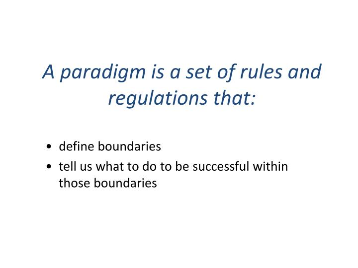 A paradigm is a set of rules and regulations that: