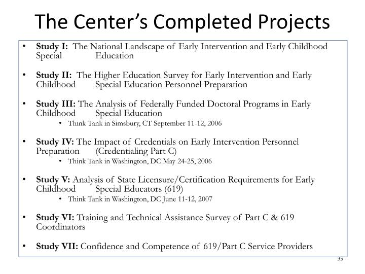 The Center's Completed Projects